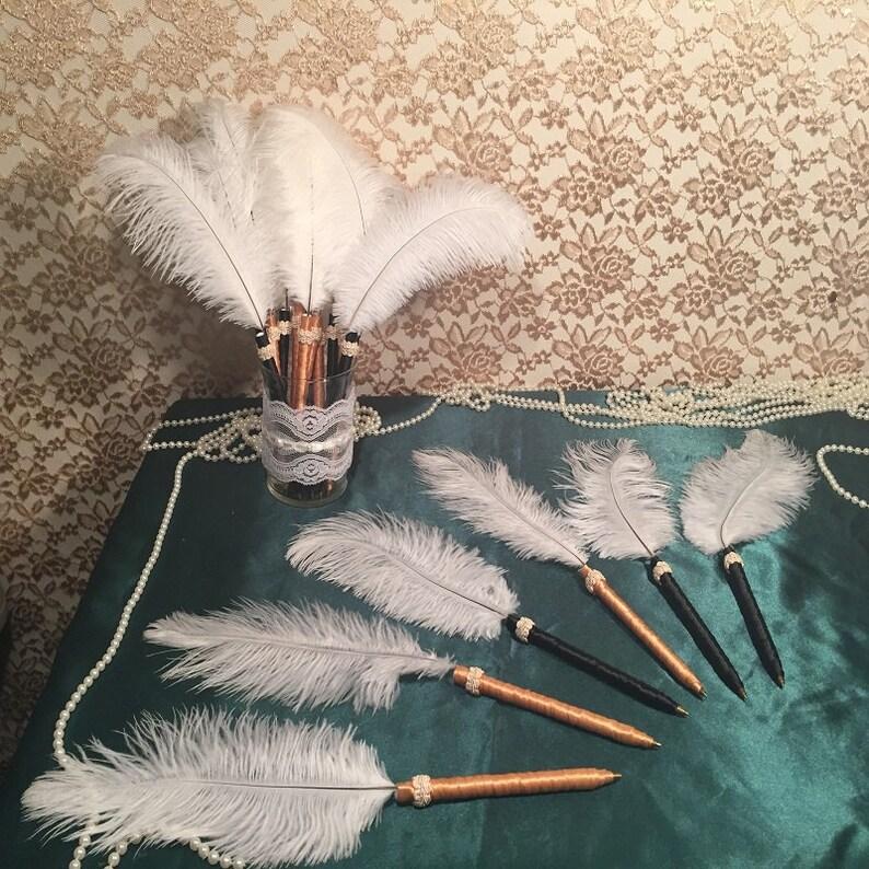 Art Deco Wedding Pen Favors for Guest Book Bridal Shower Favor Bachelorette Party Decoration Wedding Favor Baby Shower Decor Feather Pens