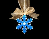 Personalized Blue Fused Glass Snowflake Ornament, Modern Christmas Ornament with Gold Metallic Ribbon