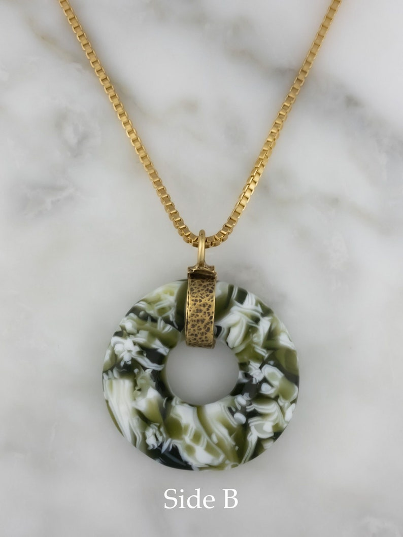 Pine Green and White Fused Glass Pendant Reversible Fused Glass Pendant Necklace with Long Gold Finished Brass Chain