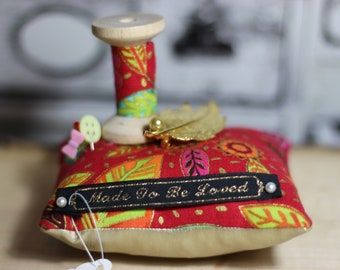 Unique Vintage Pin cushion with vintage broach and wooden spool