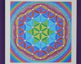 Flower of Life  - Dot Mandala Painting -  Dotillism - 27.5cm x 27.5cm - depth 3.4cm - Off-White wooden frame - painting by Katharine Moore