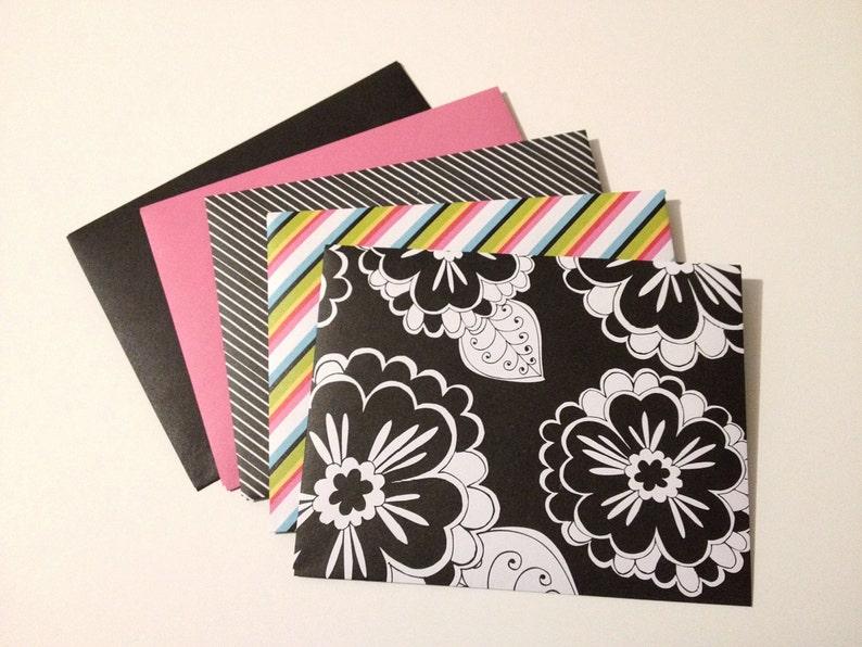 5 Black White Pink Envelopes