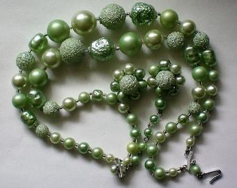 Mid-Century Sugar Crystal Plastic Bead Set marked Japan - 5936