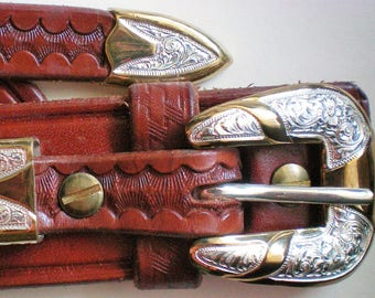 Silver and Bronze Belt Buckle with New Leather Belt - 5557