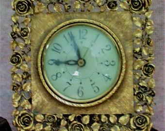 Vintage Brass Matson Clock Ornate Brass Mid Century Clock