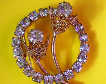 Filigree Flowers Encircled with Rhinestones Brooch - 1297