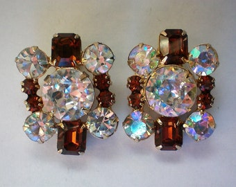 Fabulous Flashy AB and Amber Rhinestone Clip Earrings - 5947