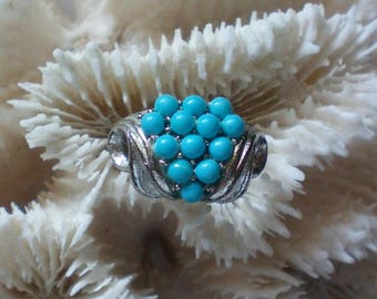 Delicate Faux Turquoise Silver tone Ring - 5559