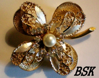 Signed BSK Multi Layered Flower Brooch - 901