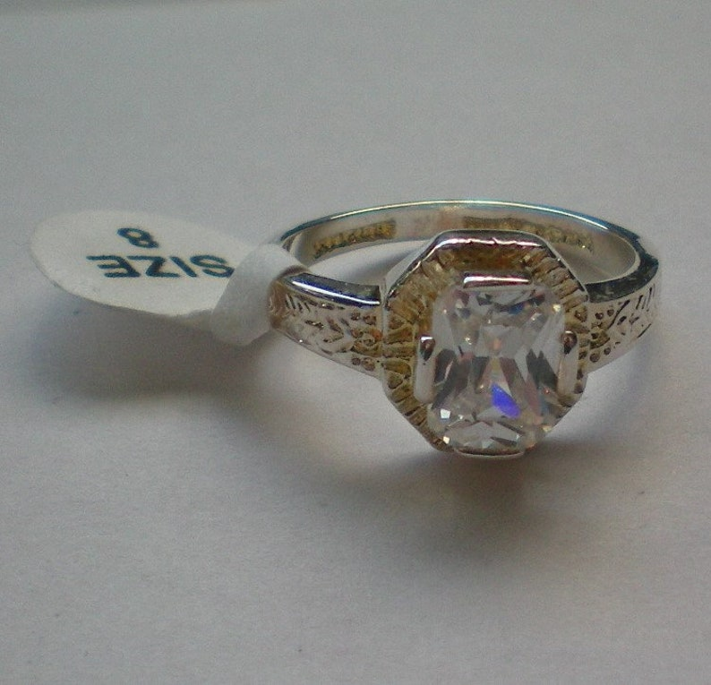 Sterling Silver Emerald Cut Cubic Zirconia Ring 6085