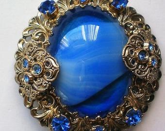 Edwardian Inspired Marble Filigree Cabochon and Rhinestone Brooch - 5191