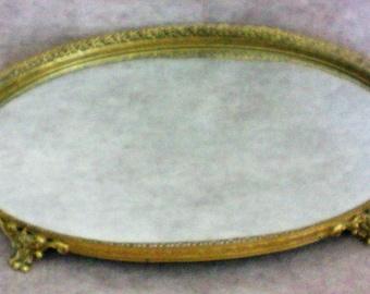Gilt Filigree Dresser / Vanity / Perfume Footed Oval Mirror - 5423