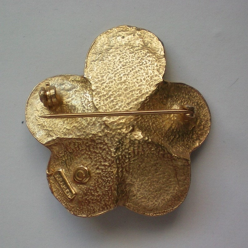6196 Kramer Metal Flower Brooch with Faux Pearl Center