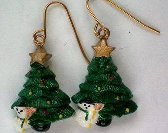 Christmas Tree Snowman Earrings for the Holidays / Christmas - 4135