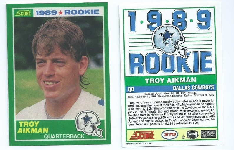 1989 90 Troy Aikman Score Rookie Card Or Topps Version