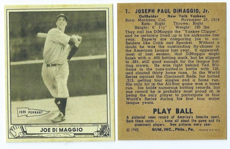 7131192eea 1940 Playball Joe DiMaggio | Etsy