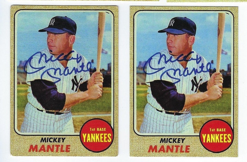 1968 Topps Mickey Mantle Autographed And A Complete Mantle Selection List Of Over 80 Different Choices