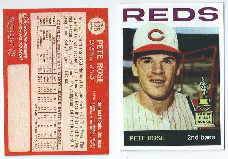 66679f8705d Pete Rose Collection more than 14 Cards 1963 | Etsy