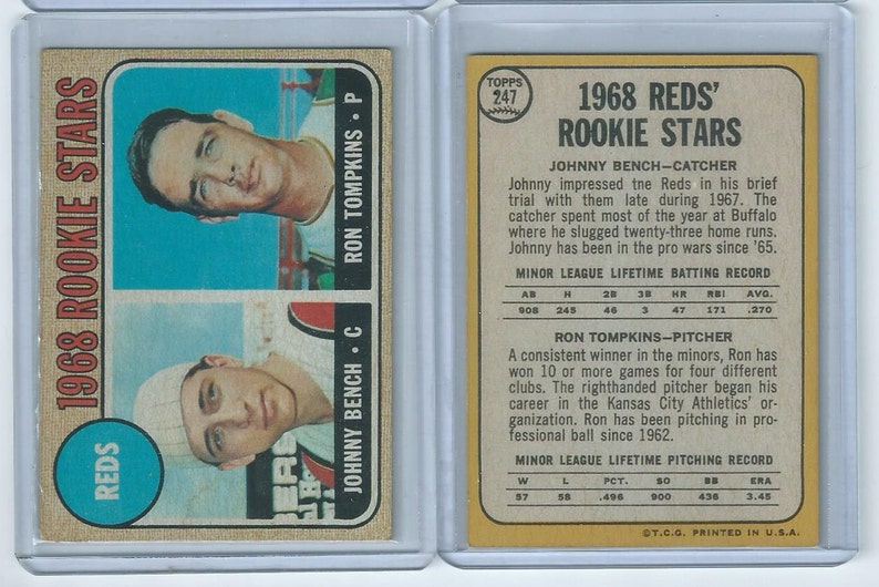 c2bac316b 1968 Johnny Bench Rookie Card RP   Etsy