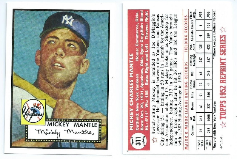 2d4e21a35b 1952 Mickey Mantle Rookie Card 100 percent AUTHENTIC from the | Etsy