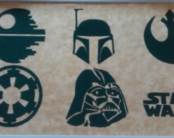 """Set Of 6 Star Wars Inspired Embroidery Designs For The 4"""" by 4"""" Hoop"""
