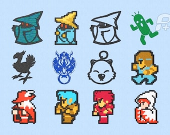 """Final Fantasy 8 bit Embroidery Designs Set of 12 - 4"""" by 4"""""""