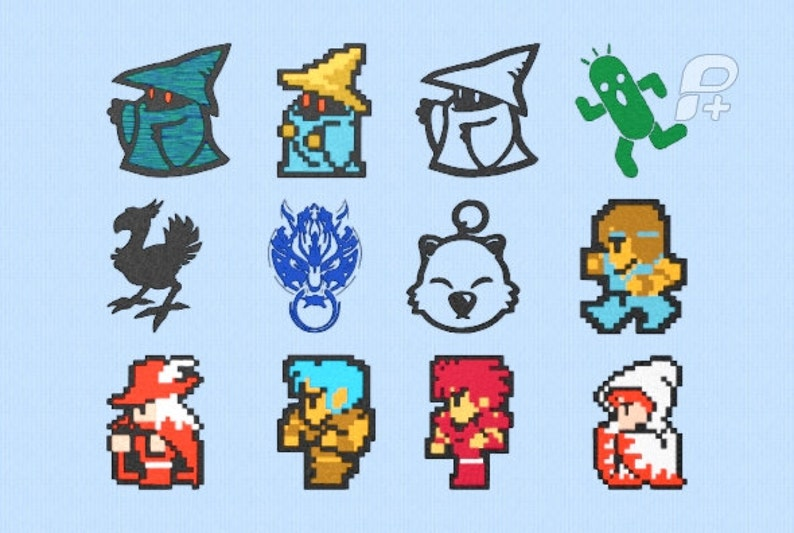 09e5c46bb4c Final Fantasy 8 bit Embroidery Designs Set of 12 4 by