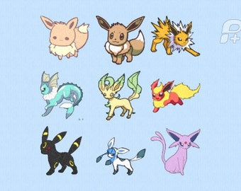 """Eevee Evolutions Embroidery Designs 4"""" by 4"""""""