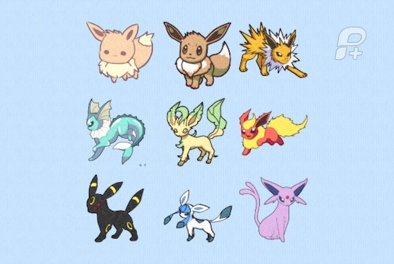 Eevee Evolutions Embroidery Designs 4 By