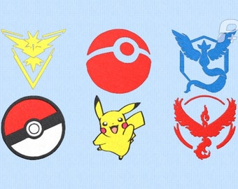 """Pokemon Go Embroidery Design Set of 6 - 4"""" by 4"""" Designs"""