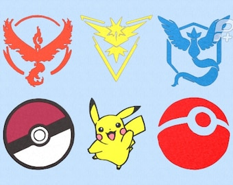 """Pokemon Go Embroidery Design Set of 6 - 6"""" by 6"""" Designs"""