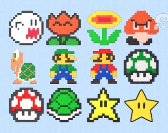 """Set of 12 Mario Themed Embroidery designs for 4"""" by 4"""" Hoop"""