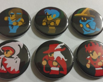 """Final Fantasy Charcter Class Magnets or Pins Set of 6 - 1.25"""""""