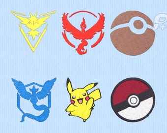 """Pokemon Go Embroidery Design Set of 6 2.66"""" by 2.66"""""""