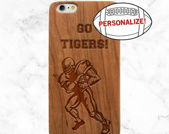 Personalized Phone Case, Football Coach Gift, Football Mom, iPhone X, 8 Plus, 7, Galaxy S9 Plus, S8, S7 Edge, SE, Custom Wooden Phone Case
