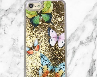 Butterfly Gift, Gold Glitter iPhone Case, iPhone 8, 7 Plus, iPhone 7, iPhone 6, iPhone 6 Plus, Holographic Glitter, Butterflies Phone Case