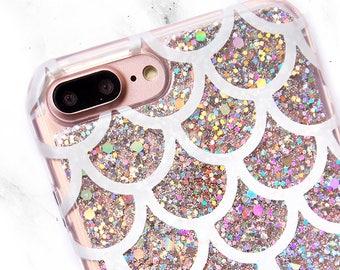 Silver Glitter iPhone Case, iPhone X Mermaid Scales Phone Case, Galaxy S8 Case, iPhone 8, iPhone 7 Plus, iPhone 6s Plus, Mermaid Tail