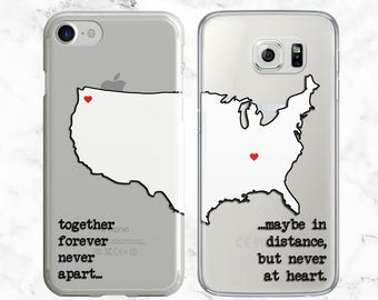 2d738b9c15 Couples Phone Case, iPhone 8 Plus Case, X, 7, 6s, Samsung Galaxy S9, S8 Case,  Best Friend Phone Case, Long Distance, Gifts for Her, TPU