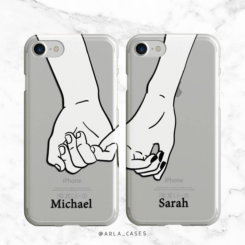 e0eef13896a19 Custom Couples Phone Case, iPhone 8 Plus Case, X, 7, Samsung Galaxy S9, S8  Plus, S6, Pinky Promise Long Distance Relationship