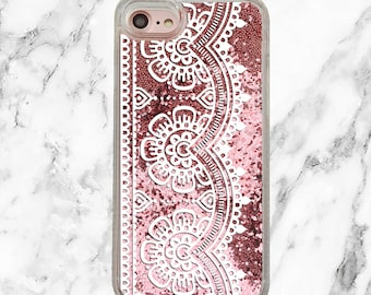 Pink Glitter iPhone Case, Gifts for Her, iPhone 8, iPhone 7 Plus, iPhone 7, iPhone 6, iPhone 6 Plus, Holographic Glitter, White Lace Trim