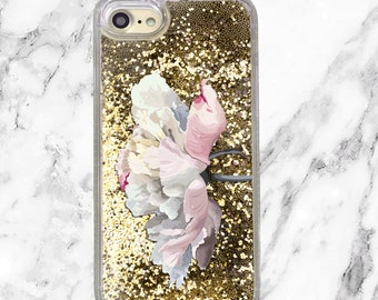 Floral Phone Case, Gold Glitter iPhone Case, iPhone 8, 7 Plus, iPhone 7, iPhone 6, iPhone 6 Plus, Holographic Glitter, Peony Phone Case