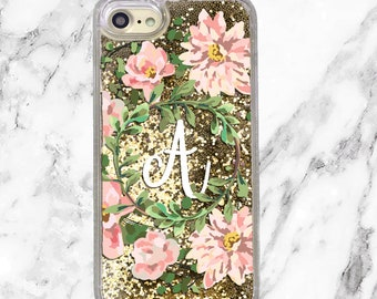 Personalized iPhone Case, Custom Initial, Floral Phone Case, iPhone 8, iPhone 7 Plus, iPhone 7, iPhone 6s, Gold Holographic Glitter