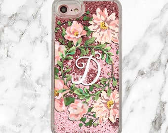 Personalized iPhone Case, Custom Initial, Floral Phone Case, iPhone 8, iPhone 7 Plus, iPhone 7, iPhone 6, iPhone 6 Plus, Holographic Glitter