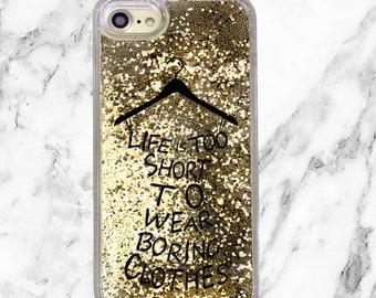 Gold Glitter iPhone Case, Fashion Stylist Gift, iPhone 8, iPhone 7 Plus, iPhone 7, iPhone 6, iPhone 6 Plus, Blogger Gift, Liquid Glitter