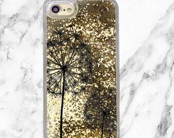 Gold Glitter iPhone Case, Floral Phone Case, iPhone 8, iPhone 7 Plus, iPhone 7, iPhone 6, iPhone 6 Plus, Holographic Glitter, Dandelions