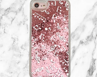 Music Gift, Pink Glitter iPhone Case, iPhone 8, iPhone 7 Plus, iPhone 7, iPhone 6, iPhone 6 Plus, Holographic Glitter, Music Lover Gift