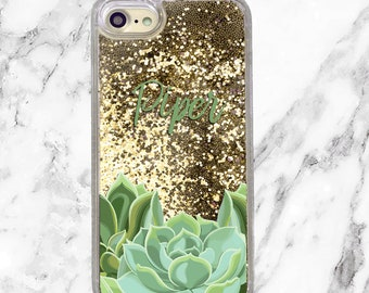 Personalized iPhone Case, Custom Name, Succulent Phone Case, iPhone 8, iPhone 7 Plus, iPhone 7, iPhone 6 Plus, Gold Holographic Glitter