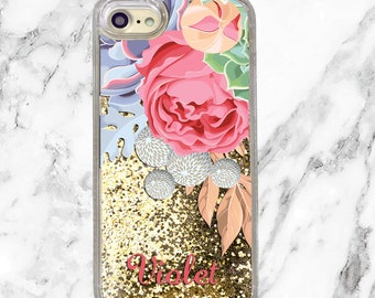 Personalized iPhone Case, Custom Name, Floral Phone Case, iPhone 8 Plus, iPhone 7 Plus, iPhone 6s, Gold Holographic Glitter, Gifts for Her