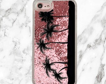 Pink Glitter iPhone Case, Gifts for Her, iPhone 8, 7 Plus, iPhone 7, iPhone 6, iPhone 6 Plus, Holographic Glitter, Palm Trees, Beach Life