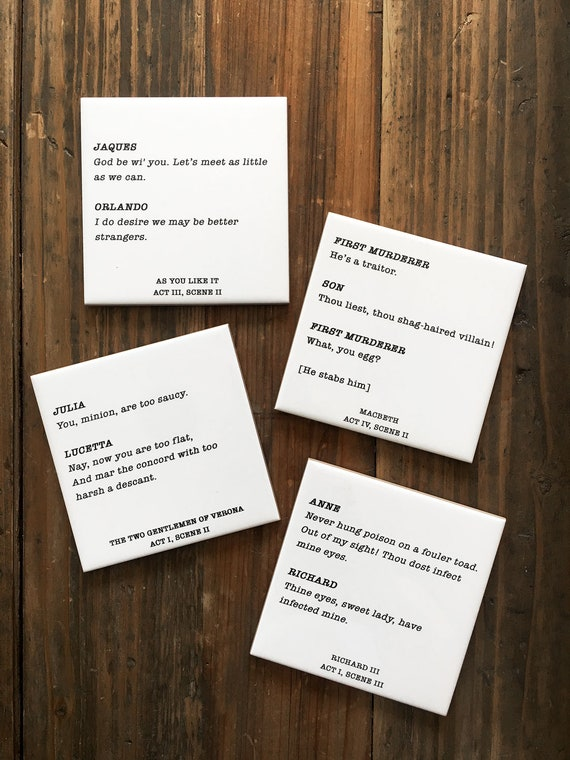 Funny Shakespeare Quotes Coaster Set Book Lover Gift Gifts For Readers Book Clubs Shakespearean Decor English Teacher Gift Minimalist